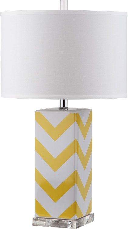 "Safavieh - Set of 2 - Table Lamp Chevron Stripe 27"" Yellow Off White Silver Clear Cotton Ceramic LIT4136G-SET2 683726716570"