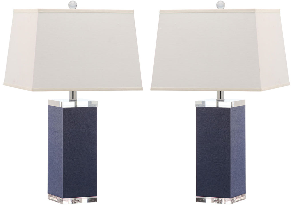 "Safavieh - Set of 2 - Table Lamp Deco Leather 27"" Navy Off White Silver Clear Cotton PU LIT4143A-SET2 683726716815"
