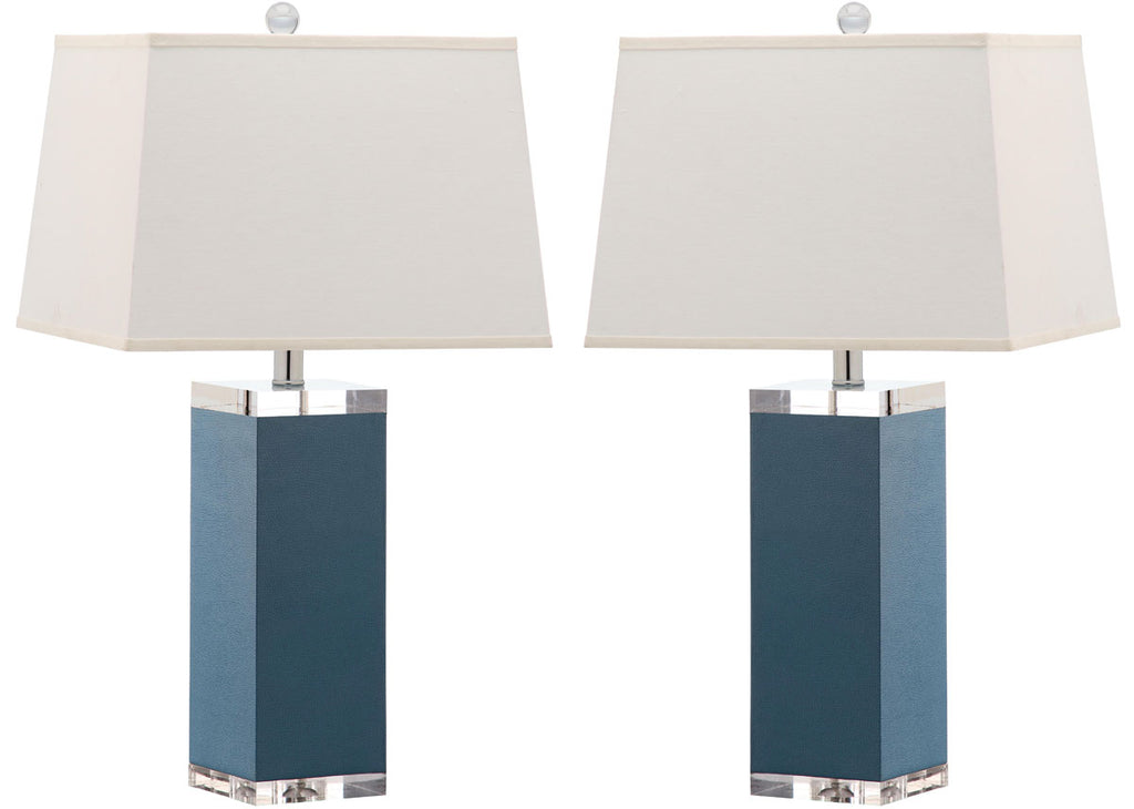 "Safavieh - Set of 2 - Table Lamp Deco Leather 27"" Light Blue Off White Silver Clear Cotton PU LIT4143B-SET2 683726716839"