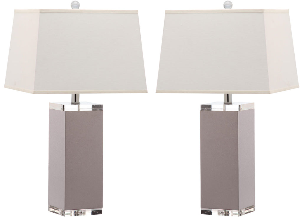 "Safavieh - Set of 2 - Table Lamp Deco Leather 27"" Grey Off White Silver Clear Cotton PU LIT4143C-SET2 683726716853"
