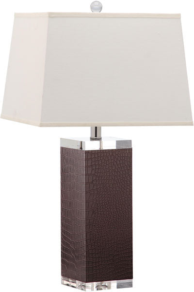 "Safavieh - Set of 2 - Table Lamp Deco Leather 27"" Brown Off White Silver Clear Cotton PU LIT4143D-SET2 683726716877"