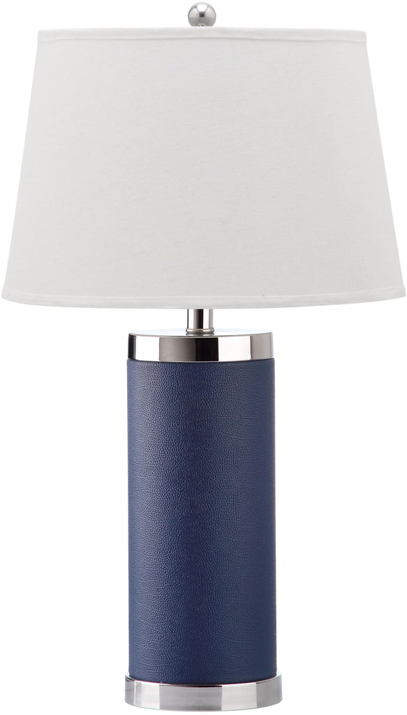 "Safavieh - Set of 2 - Table Lamp Leather Column 25"" Navy Off White Silver Chrome Cotton PU LIT4144A-SET2 683726716891"