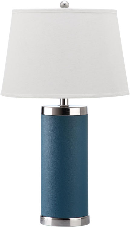 "Safavieh - Set of 2 - Table Lamp Leather Column 25"" Light Blue Off White Silver Chrome Cotton PU LIT4144B-SET2 683726716914"