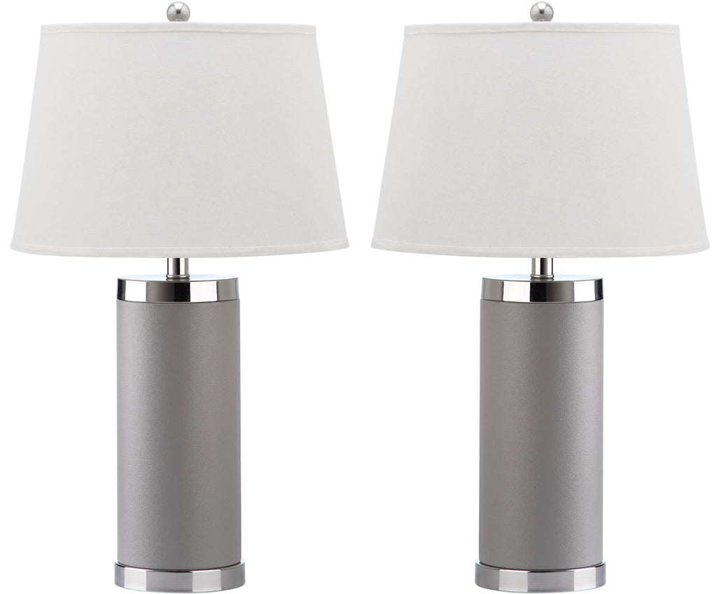"Safavieh - Set of 2 - Table Lamp Leather Column 25"" Grey Off White Silver Chrome Cotton PU LIT4144C-SET2 683726716938"