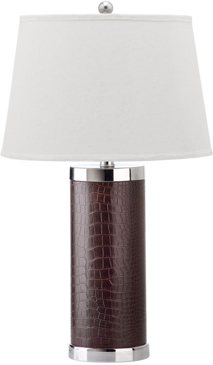 "Safavieh - Set of 2 - Table Lamp Leather Column 25"" Brown Off White Silver Chrome Cotton PU LIT4144D-SET2 683726716952"