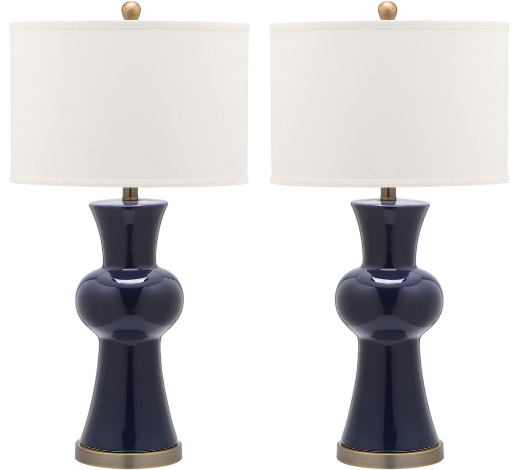 "Safavieh - Set of 2 - Lola Lamp Column 30"" Navy Off White Bronze Gold Cotton Ceramic LIT4150A-SET2 683726717218"