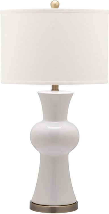 "Safavieh - Set of 2 - Lola Lamp Column 30"" White Gold Bronze Cotton Ceramic LIT4150B-SET2 683726717232"