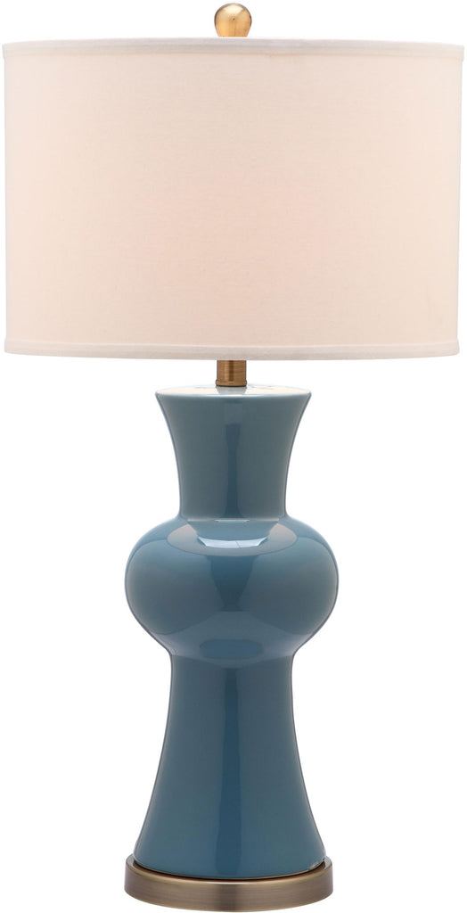 "Safavieh - Set of 2 - Lola Lamp Column 30"" Blue Off White Bronze Gold Cotton Ceramic LIT4150C-SET2 683726717256"