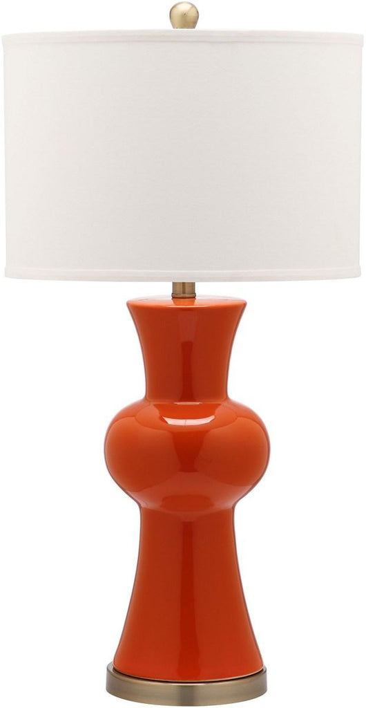 "Safavieh - Set of 2 - Lola Lamp Column 30"" Orange Off White Bronze Gold Cotton Ceramic LIT4150D-SET2 683726717270"