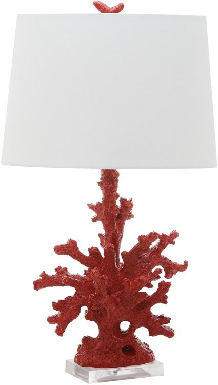 "Safavieh - Set of 2 - Table Lamp Coral Branch 28.5"" Red Off White Silver Cotton Resin LIT4161B-SET2 683726718154"
