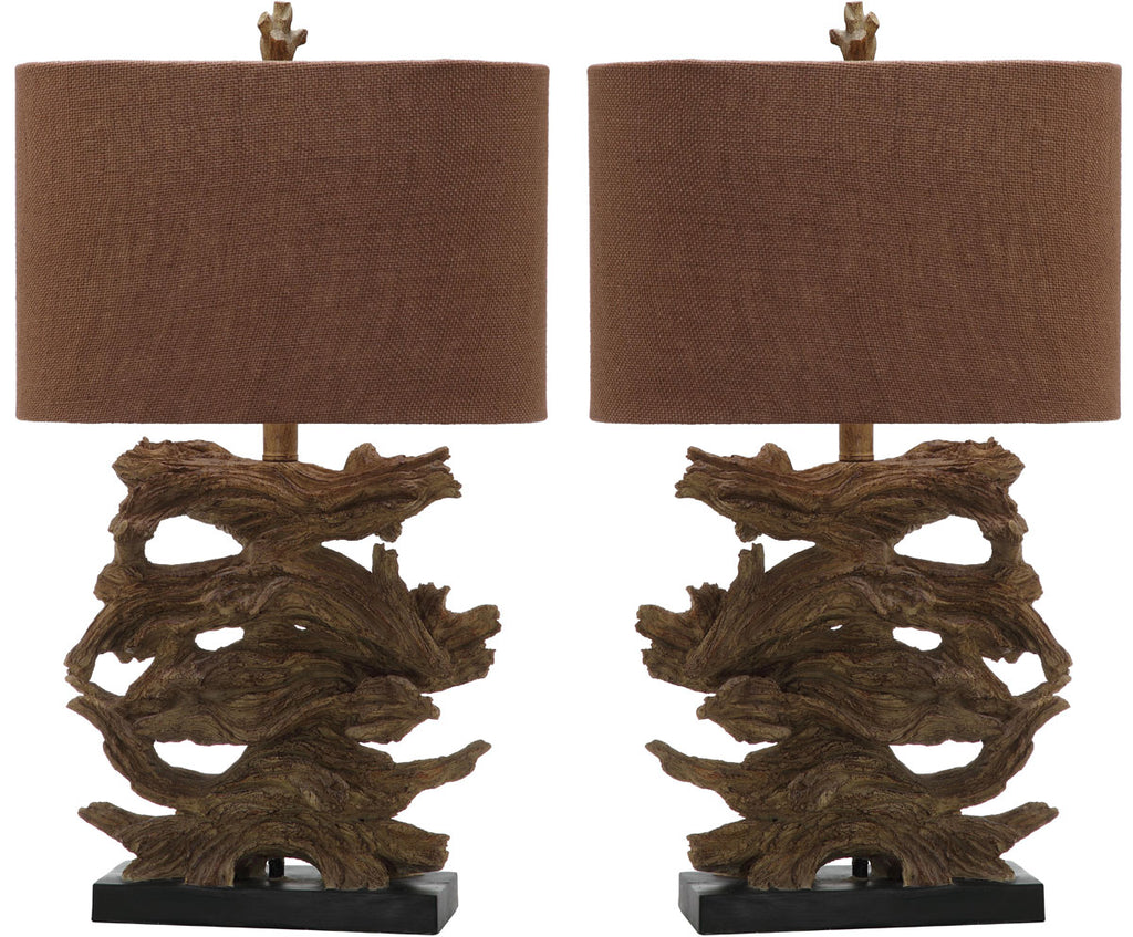 "Safavieh - Set of 2 - Forester Table Lamp 26.75"" Brown Gold Cotton Polyresin LIT4163A-SET2 683726718192"