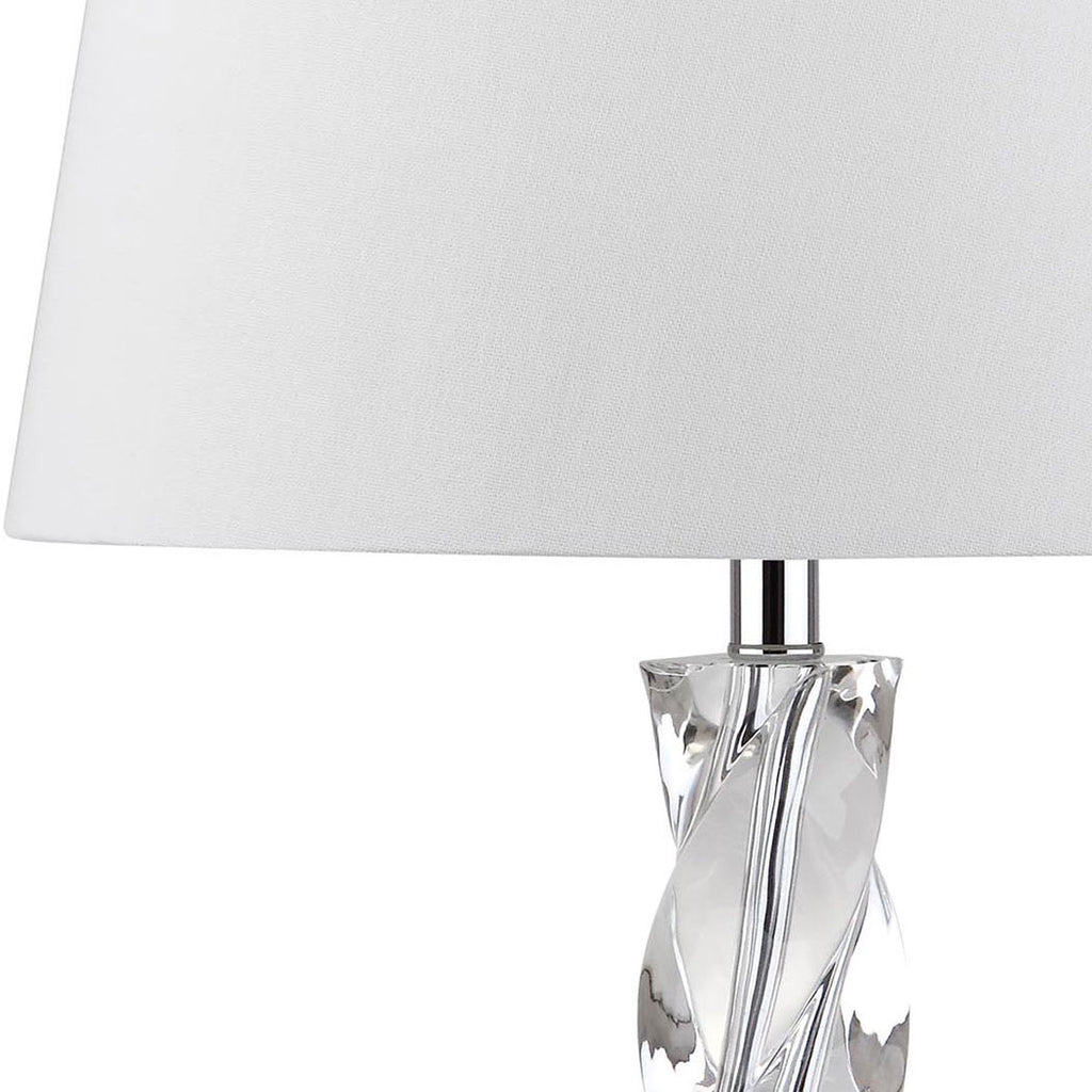 "Safavieh Ice Palace Table Lamp Crystal 27.5"" Clear Off White Chrome Silver Cotton LIT4168A 683726718277"