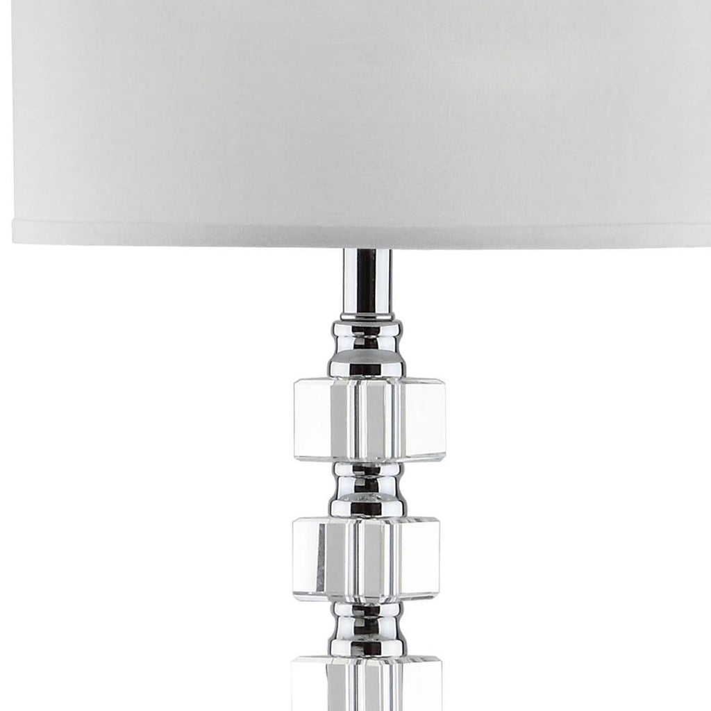 "Safavieh Lombard Street Floor Lamp 60"" Clear Chrome Off White Silver Cotton Crystal Metal LIT4178A 683726338246"