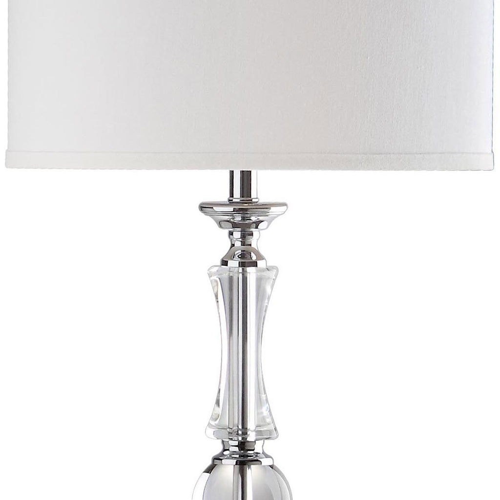 "Safavieh Canterbury Floor Lamp 60"" Clear Chrome Off White Silver Cotton Crystal Metal LIT4182A 683726338314"