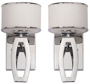 "Safavieh - Set of 2 - Lenora Light Sconce Drum 2 12.75"" Chrome White Glass Metal LIT4206A-SET2 683726360971"