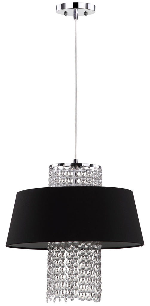 "Safavieh Cadenza Pendant Beaded 3 Light 16"" Chrome Black Cotton Metal LIT4237A 683726361558"