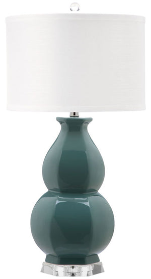 "Safavieh Juniper Table Lamp 30"" Egg Blue Off White Silver Clear Cotton Ceramic LIT4245A 683726395584"