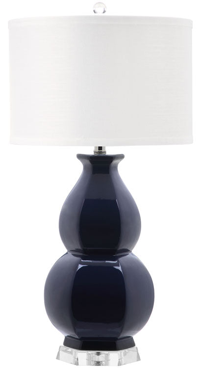 "Safavieh Jinuper Table Lamp 30"" Navy Off White Silver Clear Cotton Ceramic LIT4245B 683726395591"