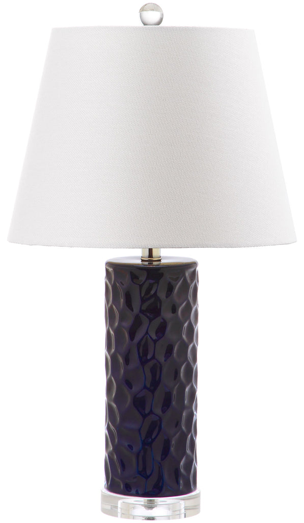 "Safavieh - Set of 2 - Dixon Table Lamp 23.5"" Navy Off White Silver Clear Cotton Ceramic LIT4249C-SET2 683726396949"