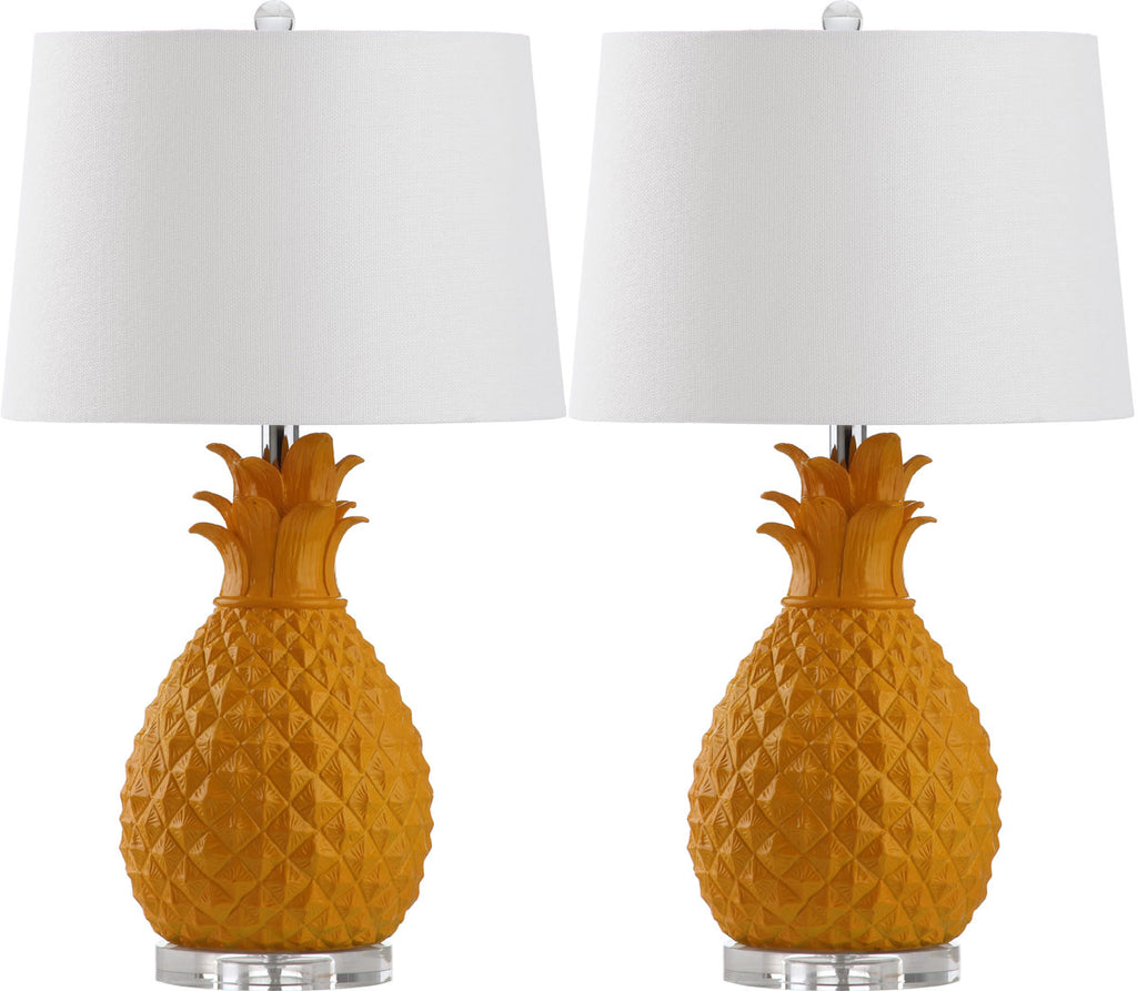 "Safavieh - Set of 2 - Kelly Table Lamp 25.5"" Yellow Off White Silver Clear Cotton Resin LIT4258A-SET2 683726869474"