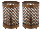 "Safavieh - Set of 2 - Borden Lamp Hurricane 11.5"" Gold Clear Glass Metal LIT4264A-SET2 683726885344"