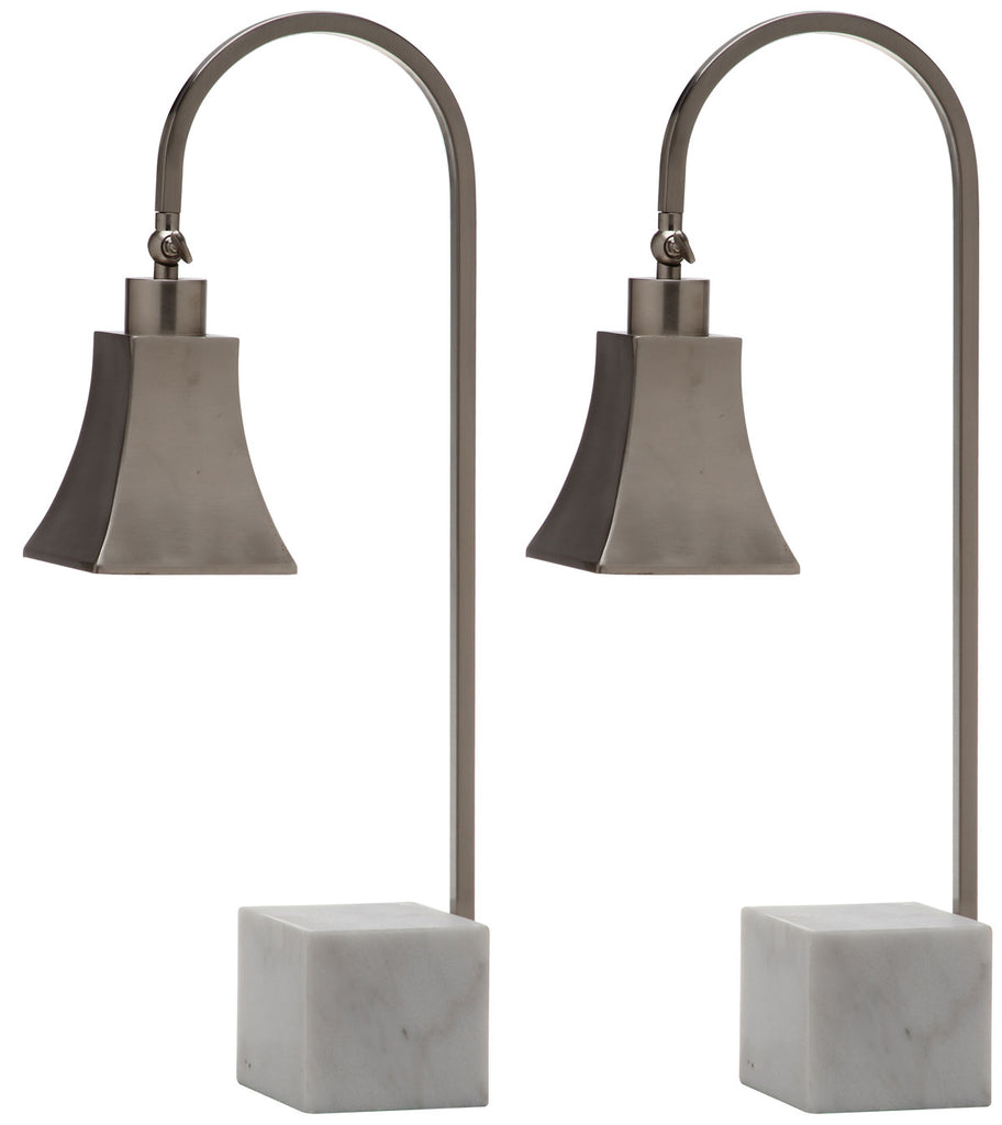 "Safavieh - Set of 2 - Charley Lamp Desk 26"" Nickel White Iron Marble Metal LIT4278A-SET2 683726403845"