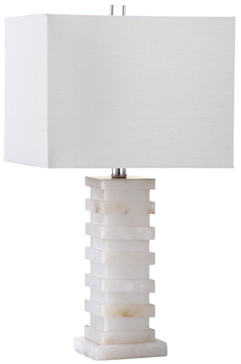 "Safavieh Cinder Table Lamp 24.5"" White Silver Clear Cotton Marble LIT4287A 683726404262"