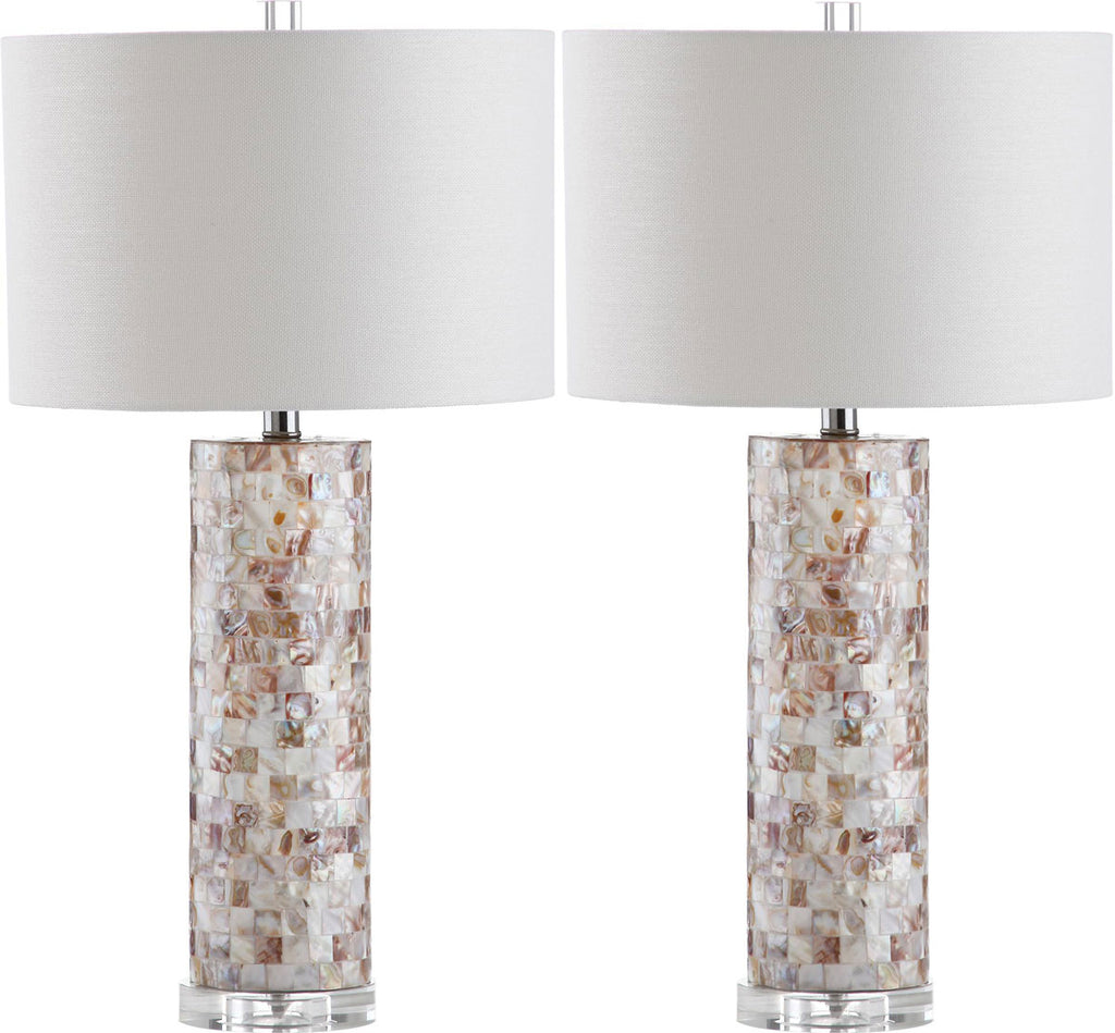 "Safavieh - Set of 2 - Boise Table Lamp 27.5"" Cream Off White Silver Clear Cotton Shell LIT4292A-SET2 683726404668"