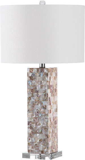 "Safavieh - Set of 2 - Jacoby Table Lamp 28"" Cream Off White Silver Clear Cotton Shell LIT4293A-SET2 683726404699"