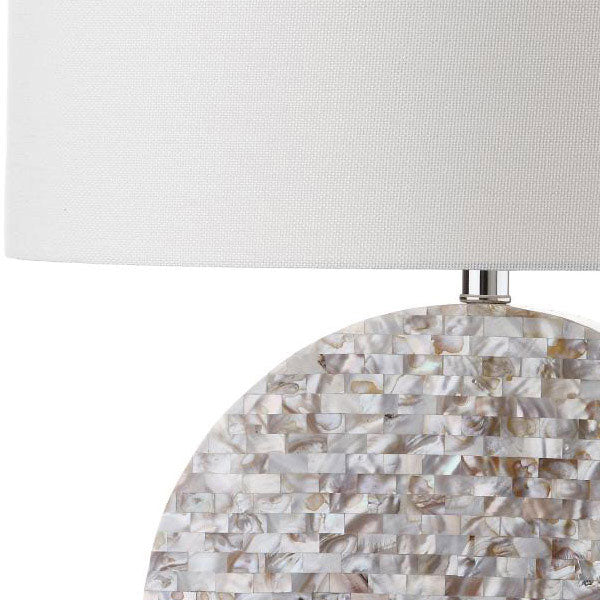 "Safavieh Lindsey Table Lamp 26.5"" Cream Off White Silver Clear Cotton Shell LIT4295A 683726405481"