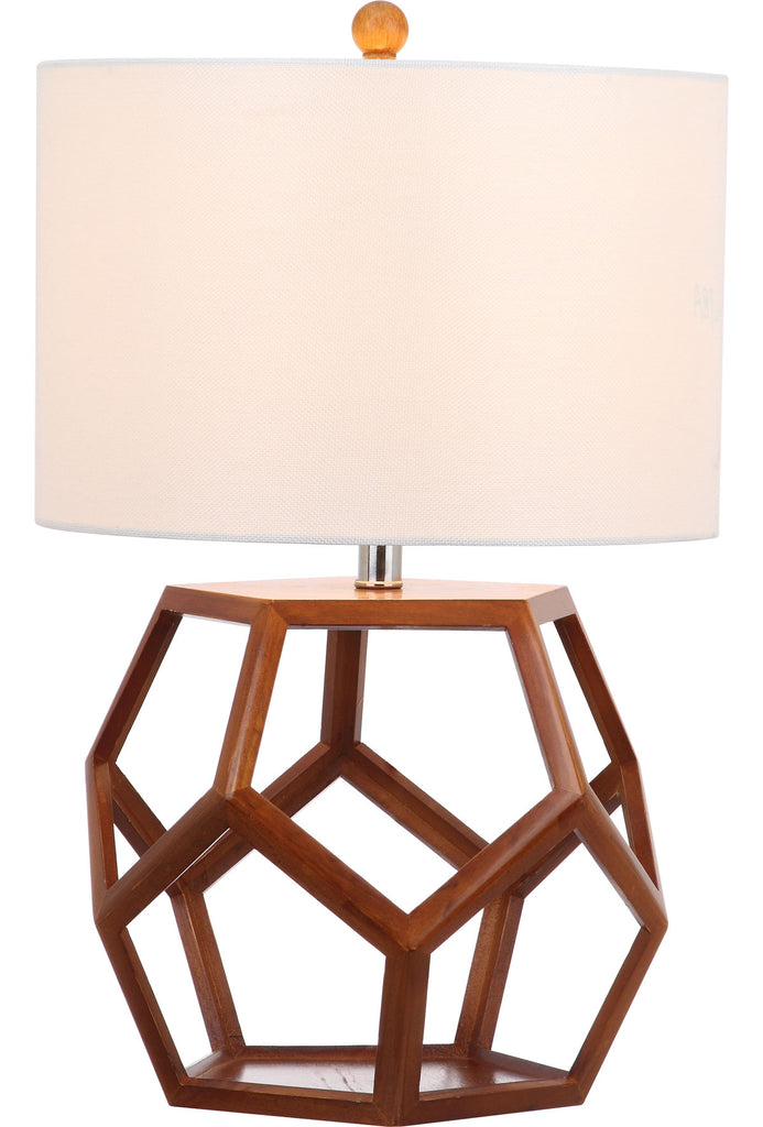 "Safavieh Delaney Table Lamp 23.75"" Brown Off White Silver Cotton Solid Wood LIT4298A 683726405795"