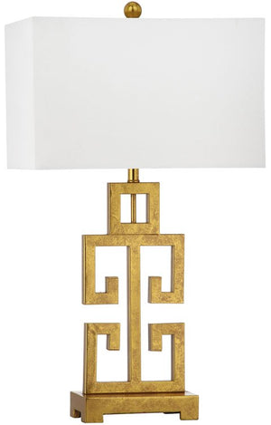 "Safavieh - Set of 2 - Table Lamp Greek Key 29"" Antique Gold Off White Cotton Metal LIT4305A-SET2 683726434450"