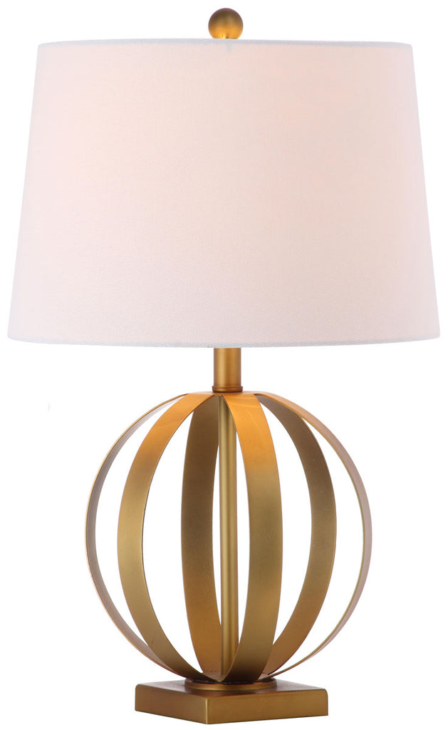 "Safavieh - Set of 2 - Euginia Table Lamp Sphere 24.5"" Gold Off White Cotton Metal LIT4310A-SET2 683726885283"