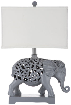 "Safavieh - Set of 2 - Table Lamp Hathi Sculpture 25.5"" Light Grey Off White Gold Cotton Resin LIT4315A-SET2 683726885306"