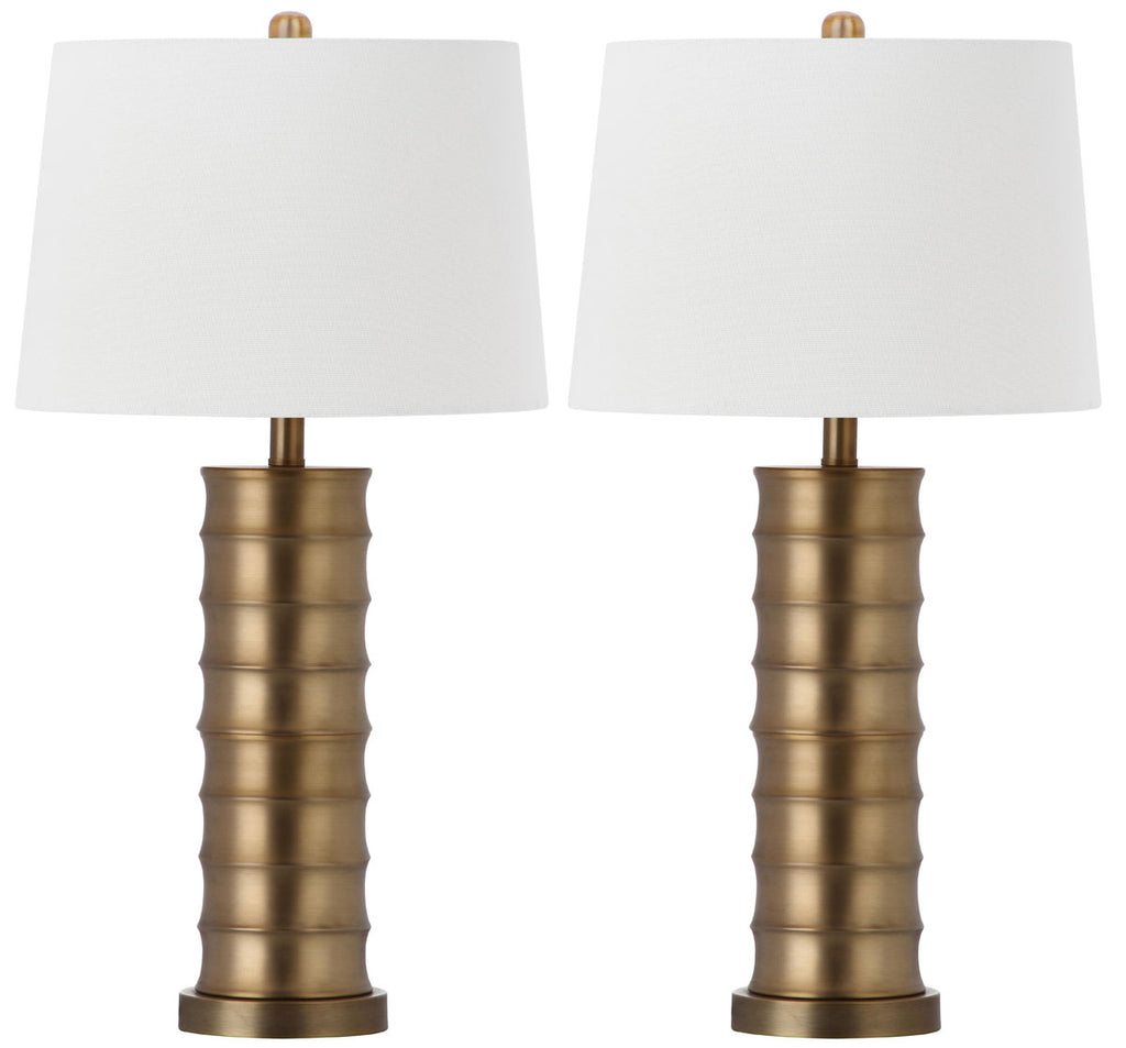"Safavieh - Set of 2 - Linus Table Lamp Column 28.5"" Gold Off White Cotton Metal LIT4319A-SET2 683726437529"