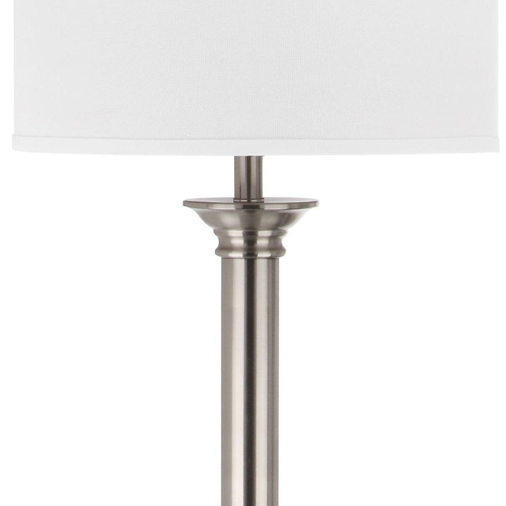 "Safavieh Livia Floor Lamp 60"" Nickel Off White Silver Cotton Metal LIT4335A 683726437857"