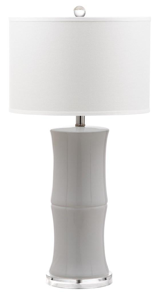 "Safavieh - Set of 2 - Table Lamp Bamboo 29"" White Chrome Clear Silver Cotton Ceramic LIT4376A-SET2 889048117990"