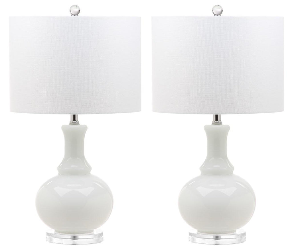 "Safavieh - Set of 2 - Franny Table Lamp 25.75"" White Chrome Clear Silver Cotton Glass LIT4394A-SET2 889048118058"