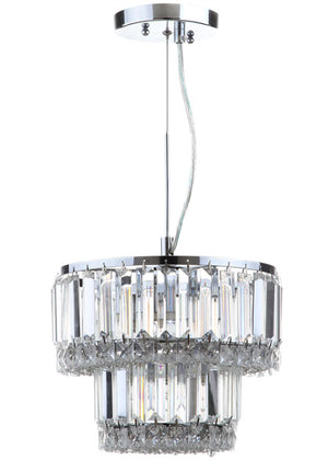 "Safavieh Lulu Pendant Glass Adjustable 4 Light 10"" Chrome Clear Iron Crystal LIT4417A 889048144859"