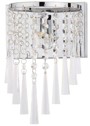 "Safavieh - Set of 2 - Tilly Wall Sconce Beaded 10"" Chrome Clear Iron Crystal LIT4433A-SET2 889048145528"