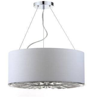 "Safavieh Fernando Pendant Adjustable Drum 3 Light 17.5"" Chrome White Polyester Iron Crystal Fabric LIT4441A 889048145177"