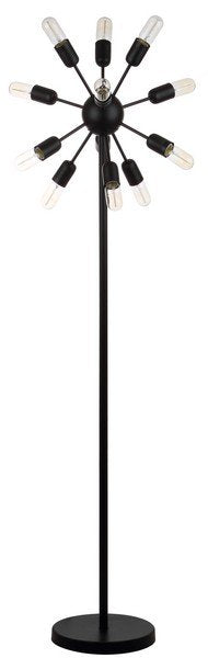 "Safavieh Urban Retro Floor Lamp 12 Light 67.5"" Black Metal LIT4474A 889048177604"