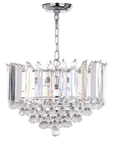 "Safavieh Hampton Pendant Glass 2 Light 16.5"" Chrome Clear Acrylic Metal LIT4490A 889048179530"