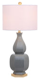 "Safavieh - Set of 2 - Cleo Table Lamp 31.5"" Grey Off White Gold Cotton Ceramic LIT4512A-SET2 889048190627"