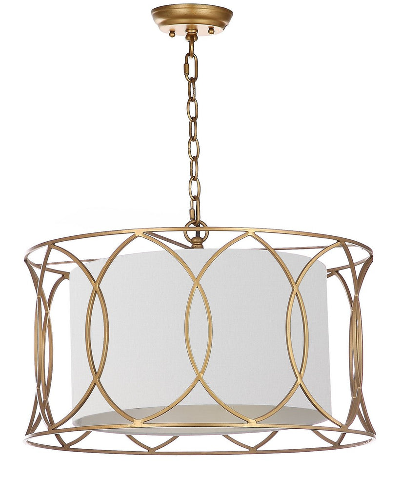 "Safavieh Silas Pendant Lamp Adjustable 21.5"" Gold Off White Cotton Metal LIT4520A 889048201422"