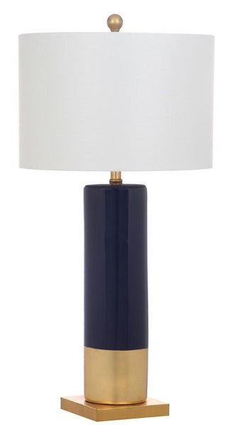 Dolce Table Lamp 31 Navy Gold Off White Cotton Ceramic Set Of 2 English Elm