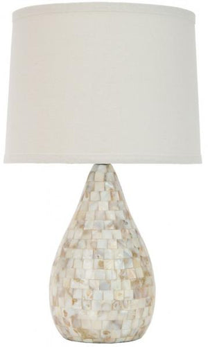 "Safavieh Lauralie Lamp Capiz Shell 20.5"" Ivory Off White Silver Cotton Resin LITS4011A 683726986669"