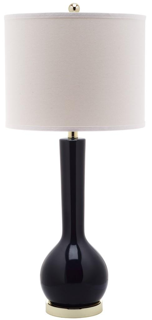 "Safavieh Mae Table Lamp Long Neck Ceramic 30.5"" Navy Off White Gold Cotton LITS4091B 683726660866"