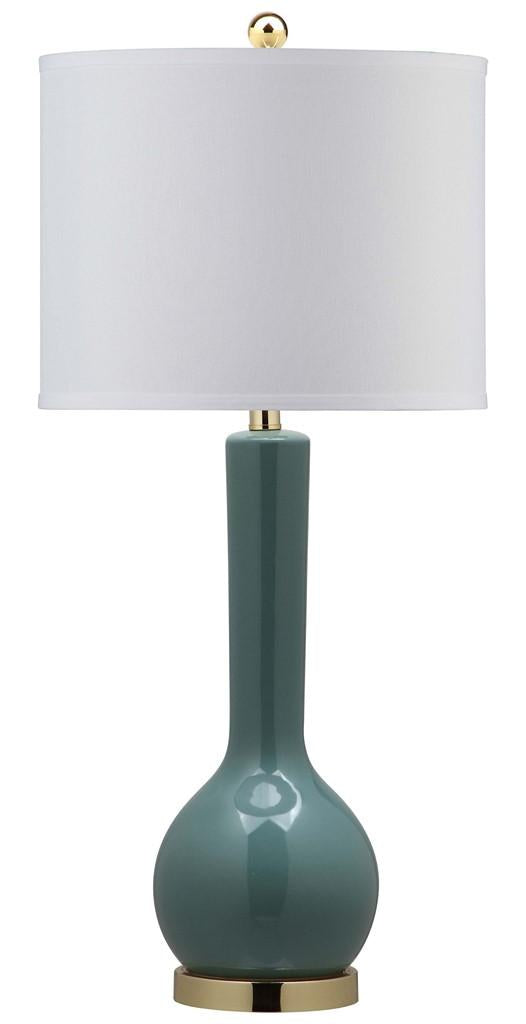 "Safavieh Mae Table Lamp Long Neck Ceramic 30.5"" Marine Blue Off White Gold Cotton LITS4091C 683726664543"