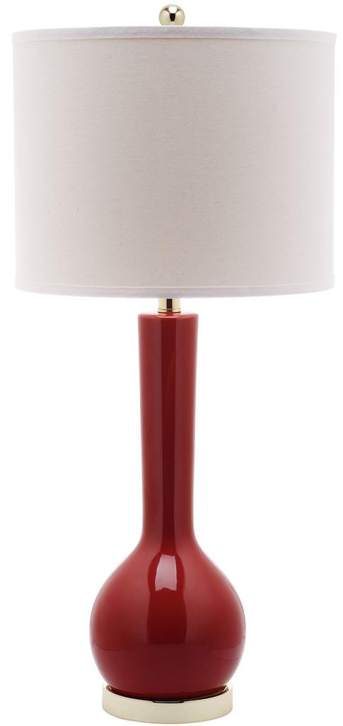 "Safavieh Mae Table Lamp Long Neck Ceramic 30.5"" Red Off White Gold Cotton LITS4091E 683726660835"